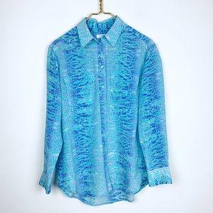 Equipment Femme Blue Snake Printed Silk Blouse
